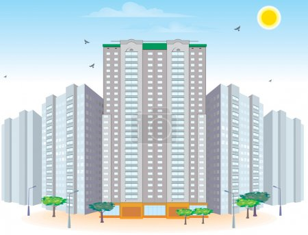Illustration for Group of multi-storied buildings - Royalty Free Image