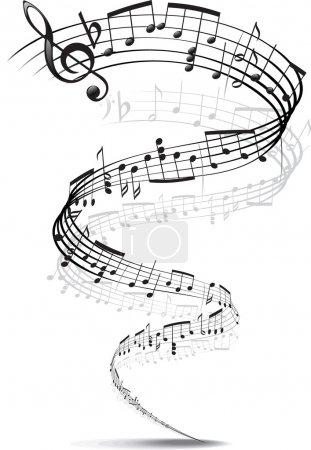 Illustration pour Notes de musique tordues en spirale - image libre de droit