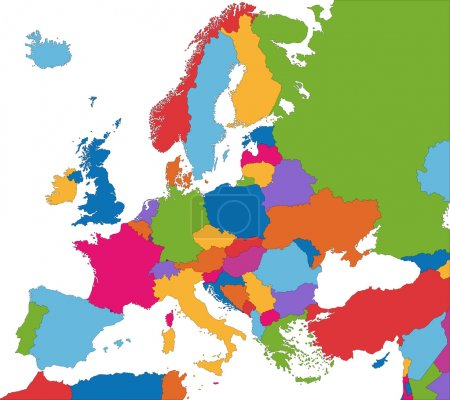 Illustration for Colorful Europe map with country borders - Royalty Free Image