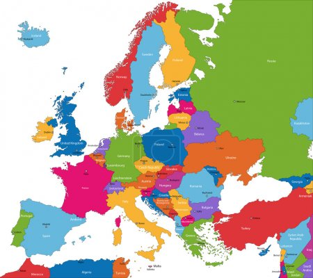 Illustration for Colorful Europe map with countries and capital cities - Royalty Free Image