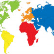 Colored map of the World with countries borders...