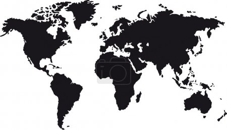 Illustration for Black map of world with countries borders - Royalty Free Image