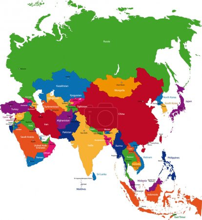 Colorful Asia map with country borders...