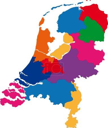 Illustration pour Carte Pays-Bas colorée avec les régions et les principales villes - image libre de droit