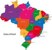Colorful Brazil map with states and capital cities