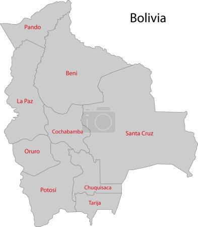 Illustration pour Carte des divisions administratives de la Bolivie - image libre de droit
