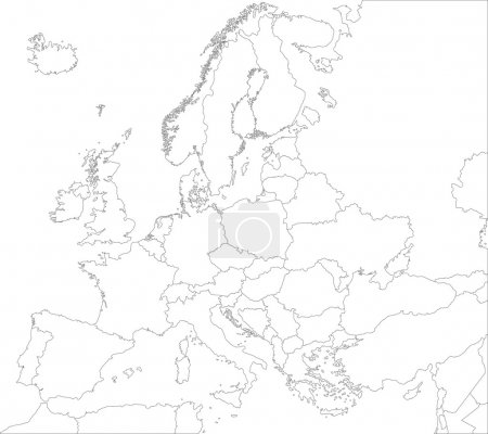 Illustration for Outline Europe map with countries - Royalty Free Image