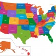 Colorful USA map with states and capital cities...
