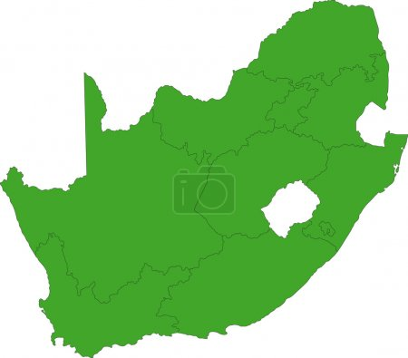 Illustration for South Africa map designed in illustration with the provinces - Royalty Free Image
