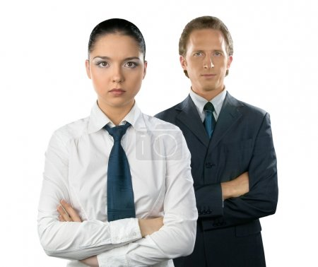 Businesswoman and man on white backgroun