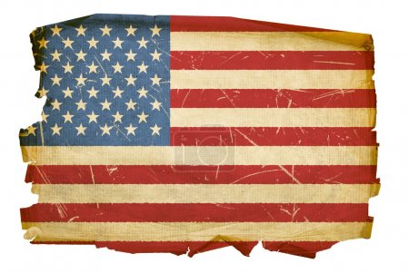 United States Flag old, isolated on whit