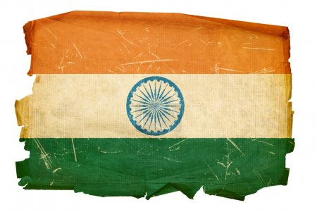 India Flag old, isolated on white backgr