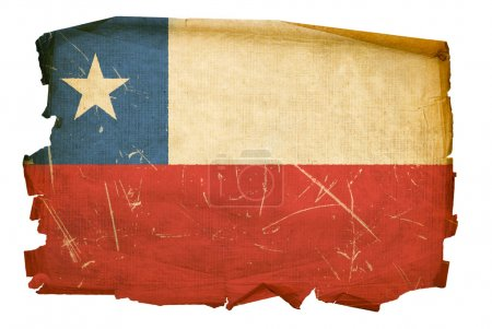 Chile Flag old, isolated on white backgr