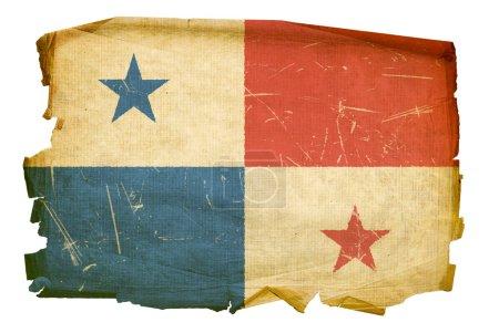Photo pour Drapeau de Panama vieux, isolé sur fond blanc. - image libre de droit