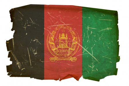 Afghanistan Flag old, isolated on white