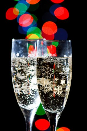 Champagne Glasses with Sparkling Ligh