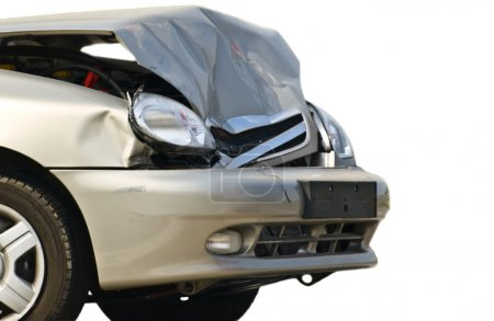 Photo for Broken front of new car, isolated - Royalty Free Image