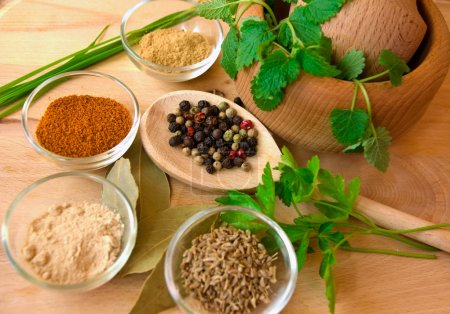 Photo for Spices with pestle and mortar - Royalty Free Image