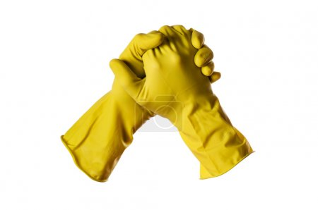 Photo for Yellow rubber gloves on white with clipping path - Royalty Free Image