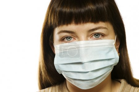 Photo for Woman with protective medicine mask on white background - Royalty Free Image