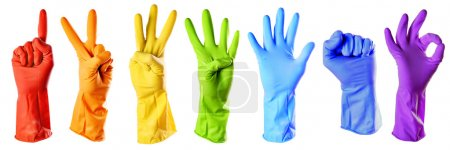 Photo for Raibow color rubber gloves on white with clipping path - Royalty Free Image
