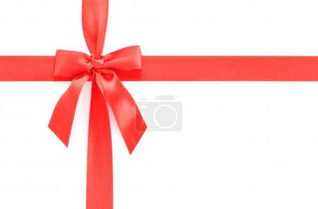 Photo pour Bow cadeau rouge isolé sur blanc - image libre de droit