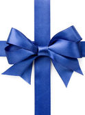 Beautiful blue bow on white background