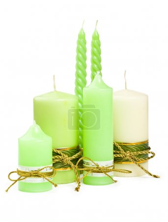 Photo for Candles with a golden ribbon - Royalty Free Image