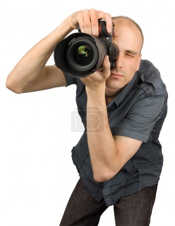 Photo pour Photographe professionnel isolé sur blanc - image libre de droit