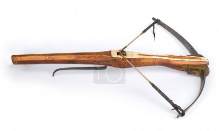 A drawn crossbow isolated on white...