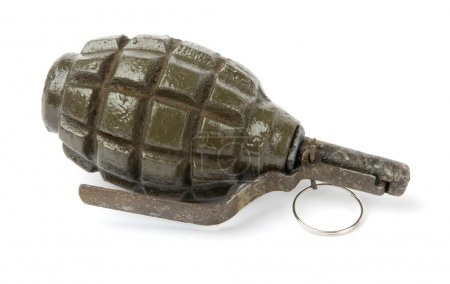 Old Hand Grenade on white background