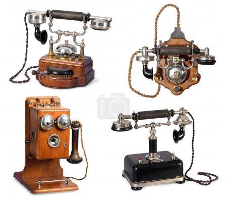 Collection of retro telephones