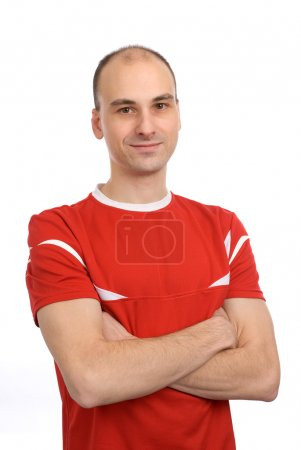 Handsome man in a red t-shirt