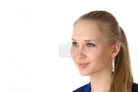 Photo for Beautiful young smiling woman. Isolated over white background - Royalty Free Image