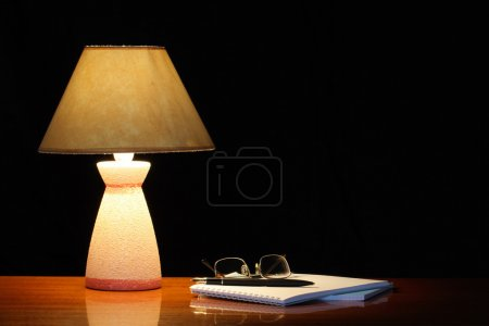 Lamp And Spiral Notebook