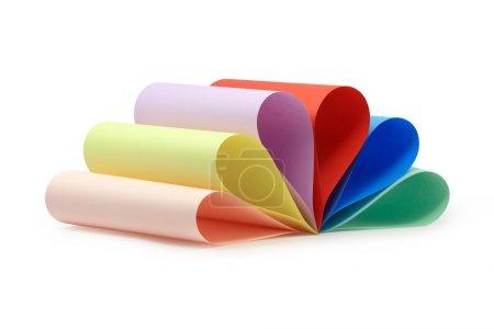 Photo pour Papier de couleur divers isolé sur fond blanc - image libre de droit