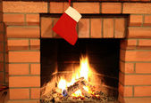 Fireplace With Christmas Stocking