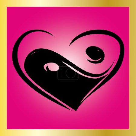 Heart Ying Yang Symbol on pink backgroun