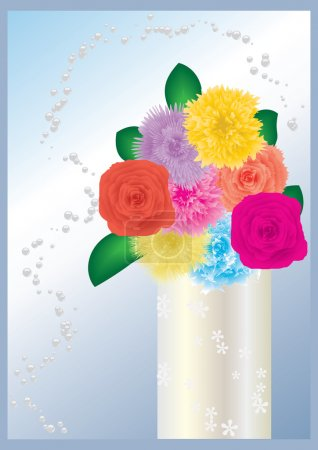 Illustration for Bouquet of flowers in decorative vase, vector, see more at my portfolio - Royalty Free Image