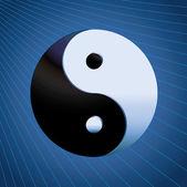 Ying Yang Symbol on blue background