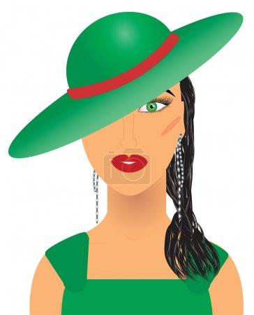 Illustration pour Femme aristocratique en chapeau vert et robe, vecteur supplémentaire - image libre de droit