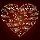 Heart-shaped text about what love is vector illustration