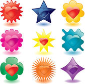 Colorful heart shaped plastic buttons (JPG); a vector version is also available
