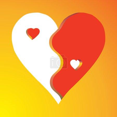 Love Yin Yang on yellow background
