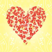 Heart from hearts on yellow background