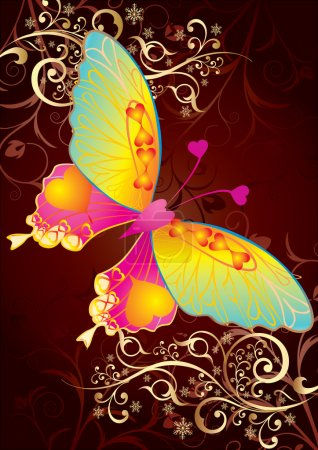 Love butterfly on gold background