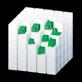 White cube with green parts