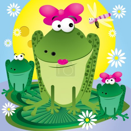Illustration for Family of fun cartoon frogs for greetings card, vector illustration - Royalty Free Image