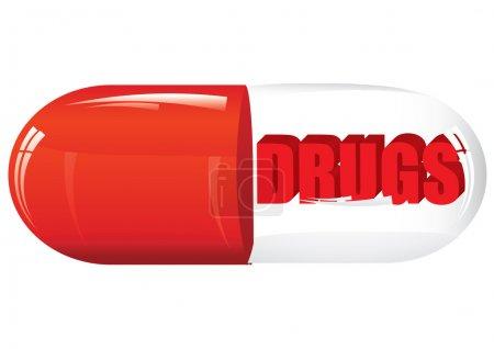 Illustration pour Pilule de classe avec médicaments, illustration vectorielle - image libre de droit
