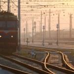 Train on platform. Railroad. Sunrise...
